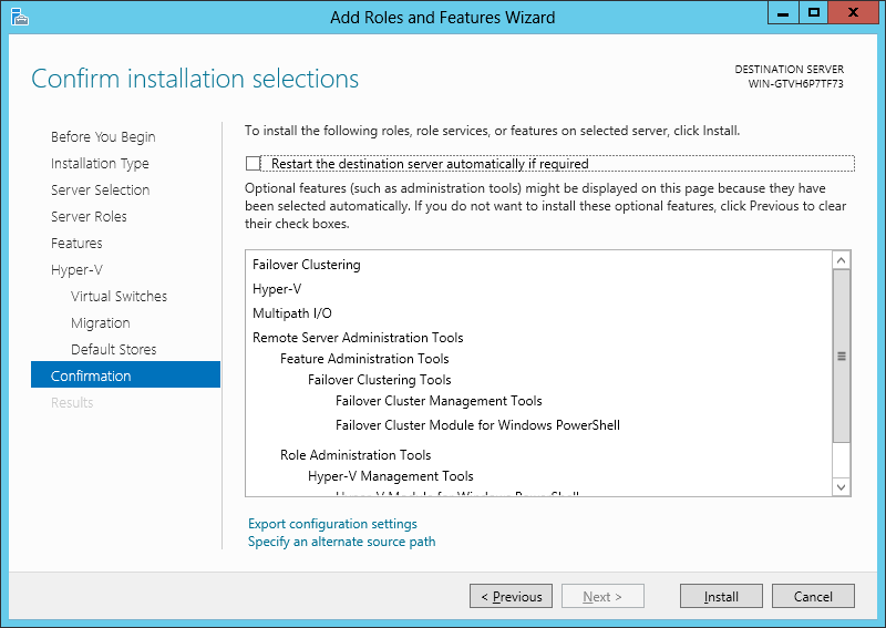 Step 9 On the Virtual Machine Migration page of Add Roles and Features Wizard, select Allow this server to send and receive live migrations of virtual machines and select Use Kerberos option for