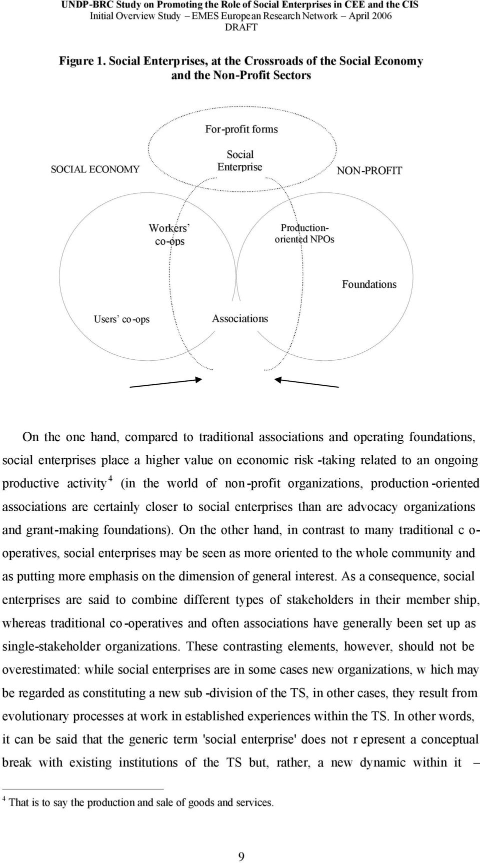 Users co-ops Associations On the one hand, compared to traditional associations and operating foundations, social enterprises place a higher value on economic risk -taking related to an ongoing