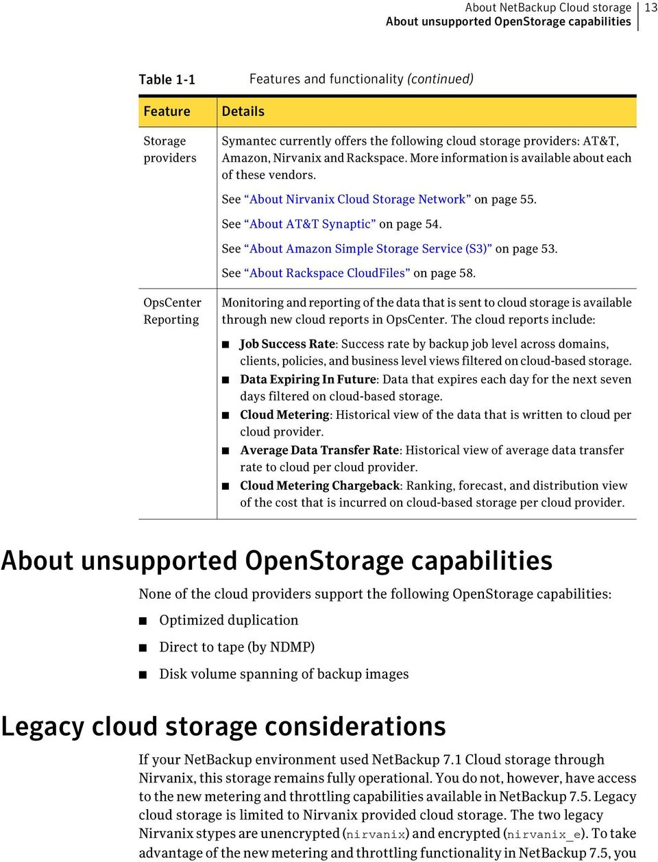 See About AT&T Synaptic on page 54. See About Amazon Simple Storage Service (S3) on page 53. See About Rackspace CloudFiles on page 58.