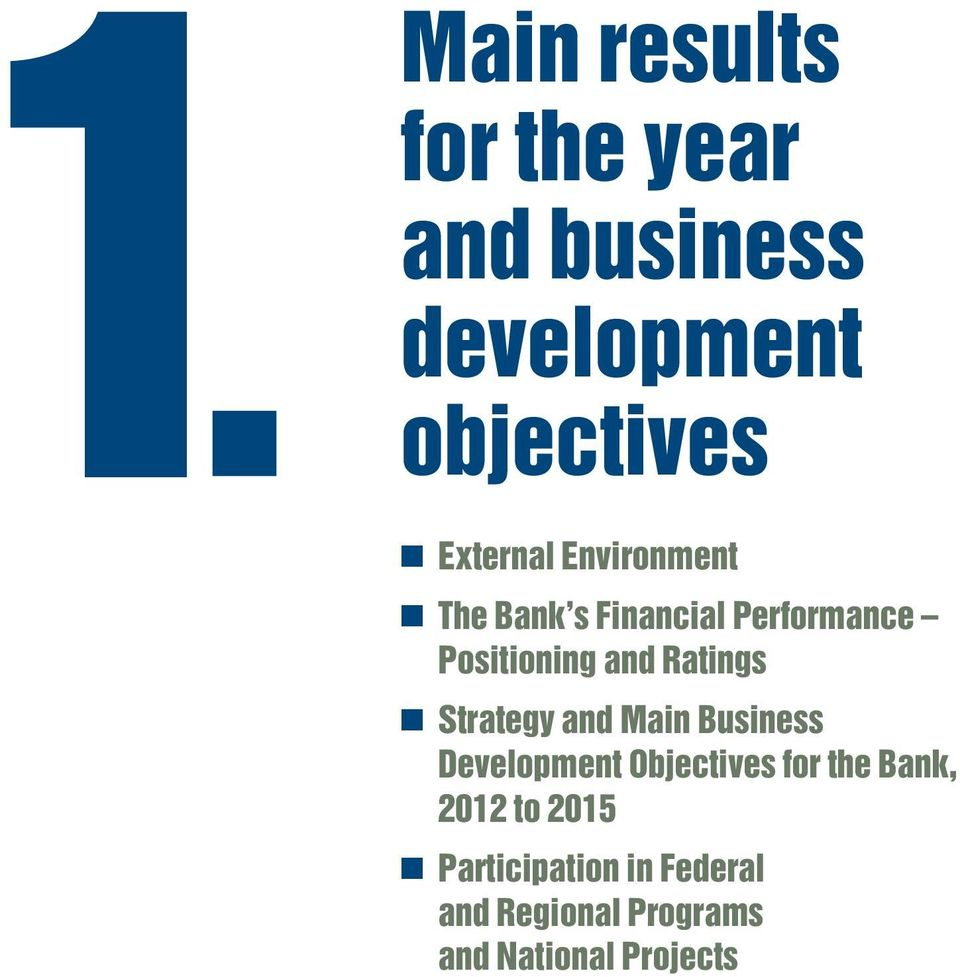Ratings Strategy and Main Business Development Objectives for the Bank,