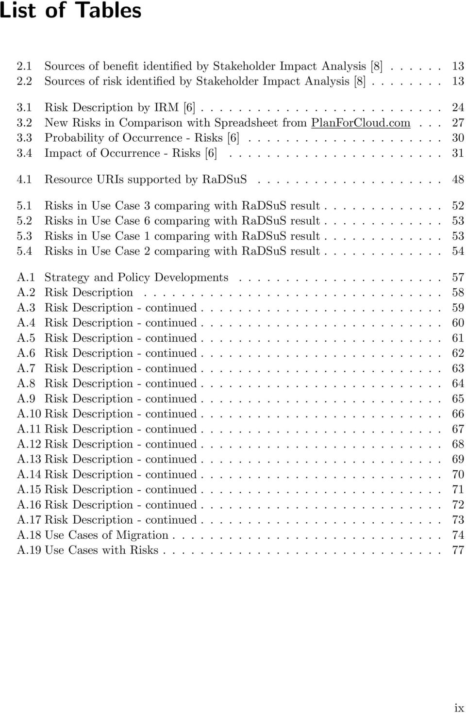 4 Impact of Occurrence - Risks [6]....................... 31 4.1 Resource URIs supported by RaDSuS.................... 48 5.1 Risks in Use Case 3 comparing with RaDSuS result............. 52 5.