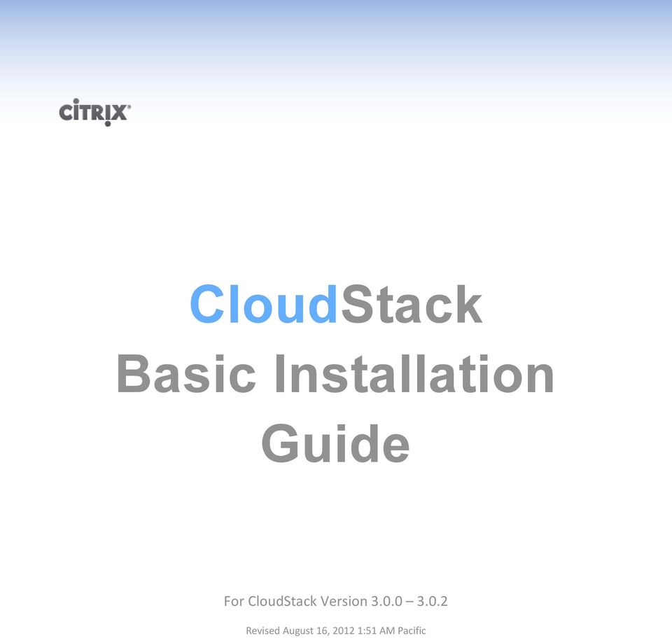 CloudStack Version 3.0.0 3.
