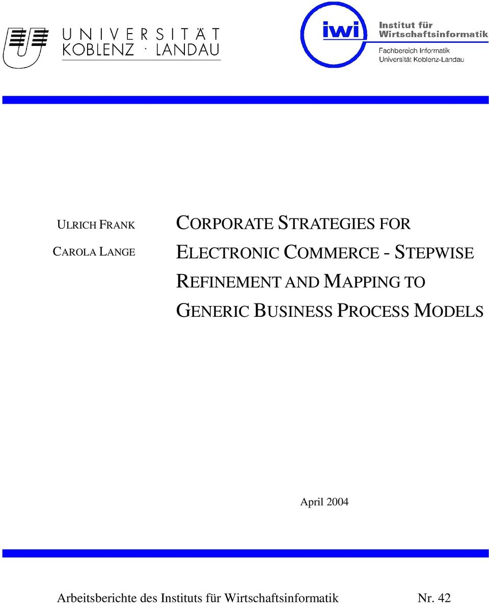 TO GENERIC BUSINESS PROCESS MODELS April 2004