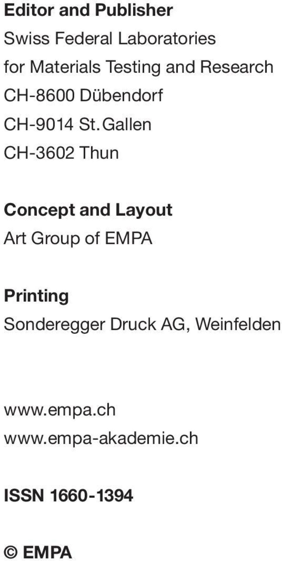 Gallen CH-3602 Thun Concept and Layout Art Group of EMPA Printing