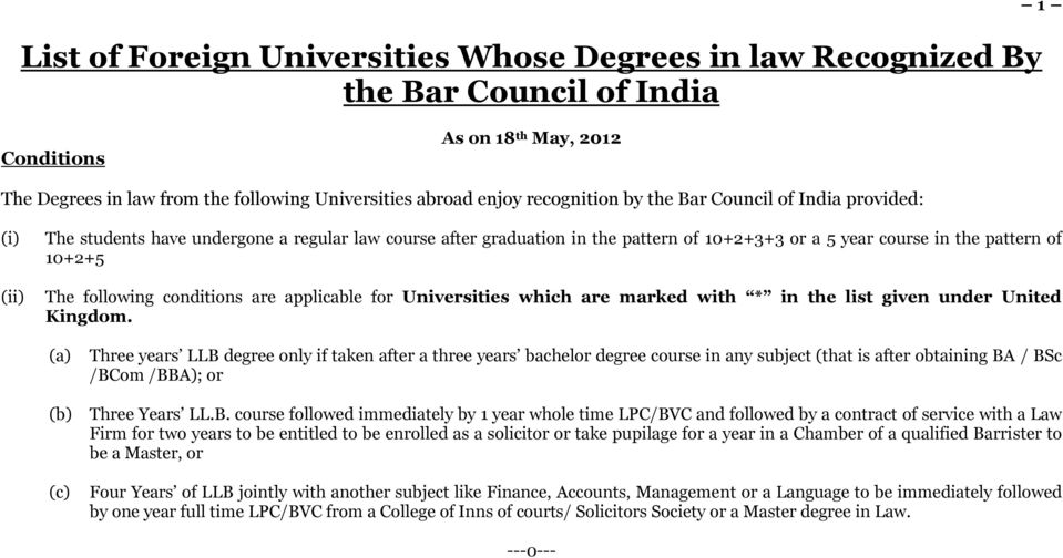 conditions are applicable for Universities which are marked with * in the list given under United Kingdom.