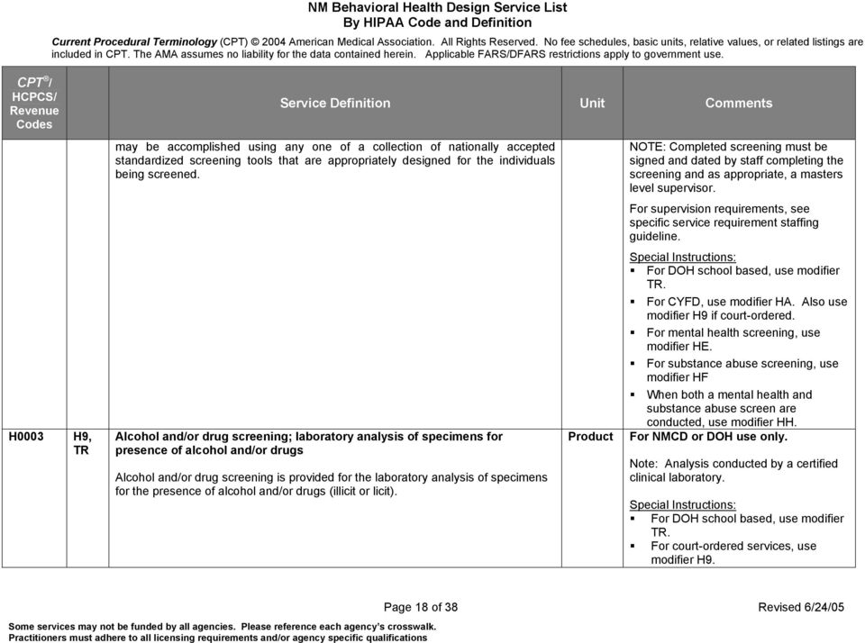 For supervision requirements, see specific service requirement staffing guideline.