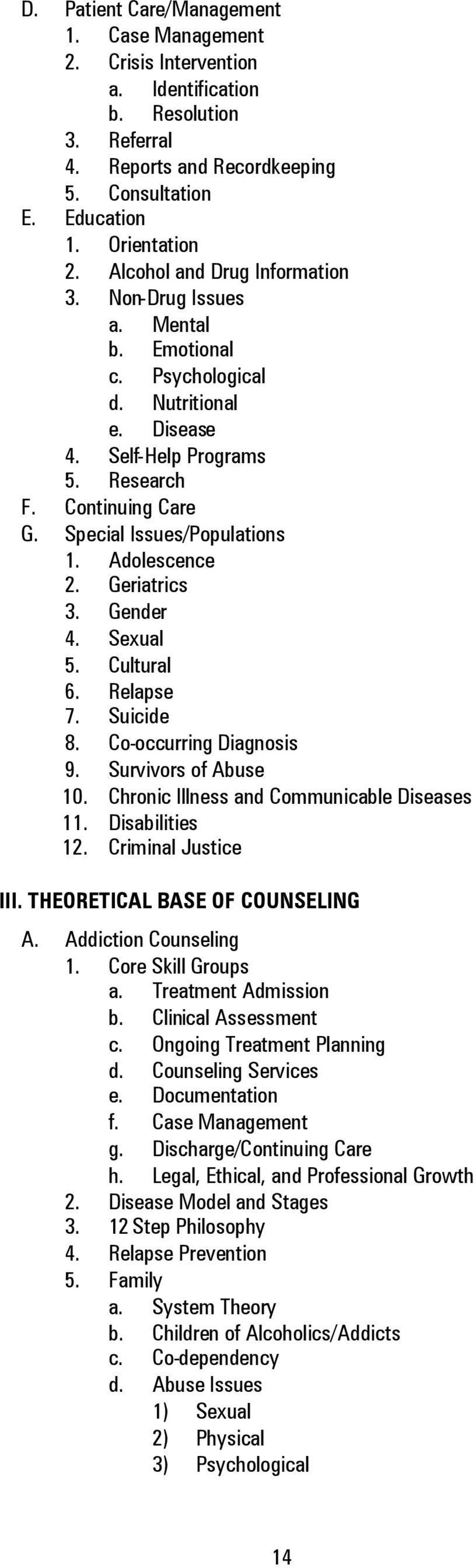 Adolescence 2. Geriatrics 3. Gender 4. Sexual 5. Cultural 6. Relapse 7. Suicide 8. Co-occurring Diagnosis 9. Survivors of Abuse 10. Chronic Illness and Communicable Diseases 11. Disabilities 12.