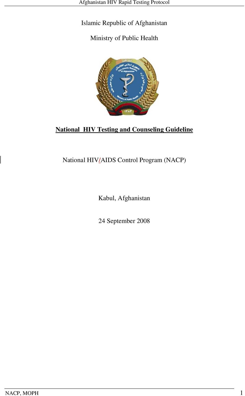 Counseling Guideline National HIV/AIDS Control