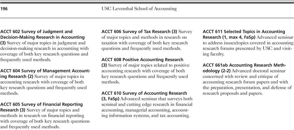 ACCT 604 Survey of Management Accounting Research (2) Survey of major topics in accounting research with  ACCT 605 Survey of Financial Reporting Research (3) Survey of major topics and methods in