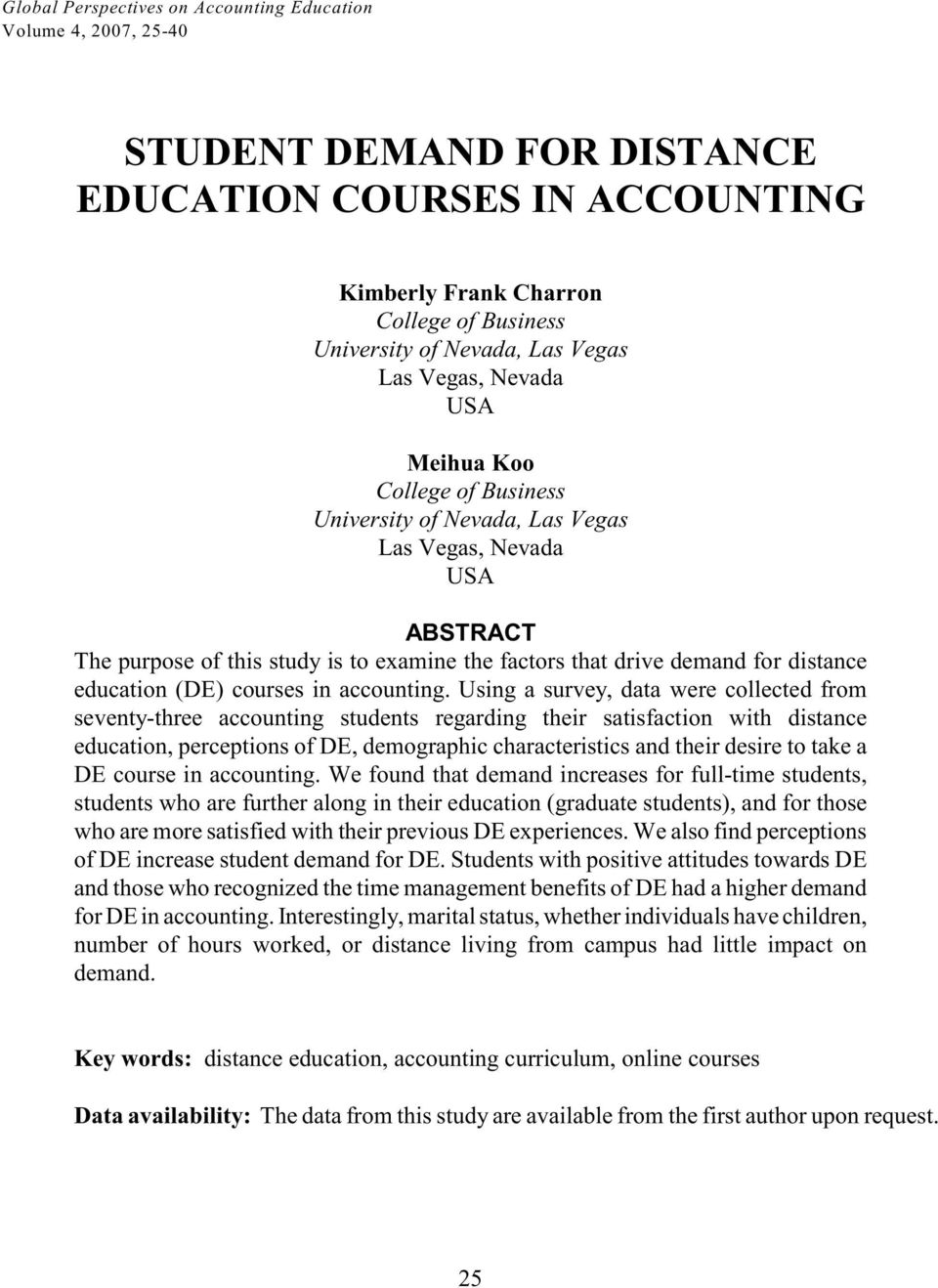 distance education (DE) courses in accounting.
