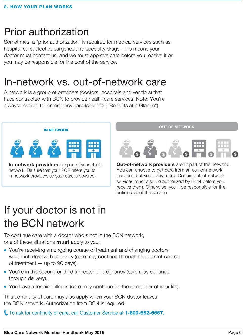 out-of-network care A network is a group of providers (doctors, hospitals and vendors) that have contracted with BCN to provide health care services.