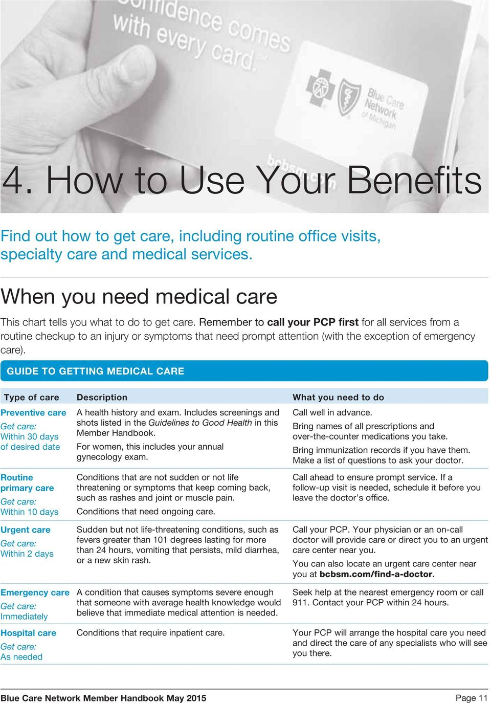 GUIDE TO GETTING MEDICAL CARE Type of care Description What you need to do Preventive care A health history and exam. Includes screenings and Call well in advance.