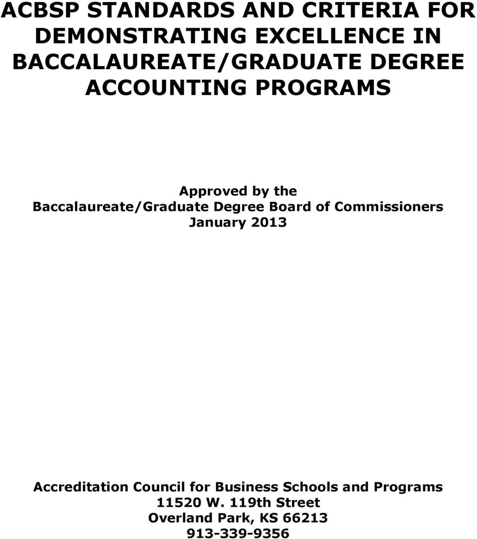Baccalaureate/Graduate Degree Board of Commissioners January 2013