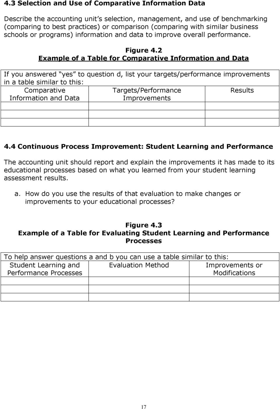 2 Example of a Table for Comparative Information and Data If you answered yes to question d, list your targets/performance improvements in a table similar to this: Comparative Information and Data