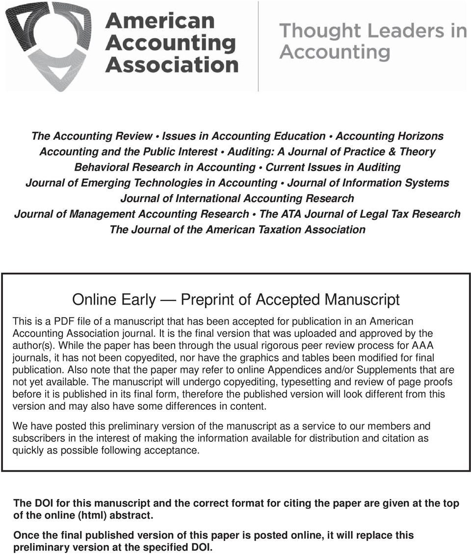 Legal Tax Research The Journal of the American Taxation Association Online Early Preprint of Accepted Manuscript This is a PDF file of a that has been for publication in an American Accounting