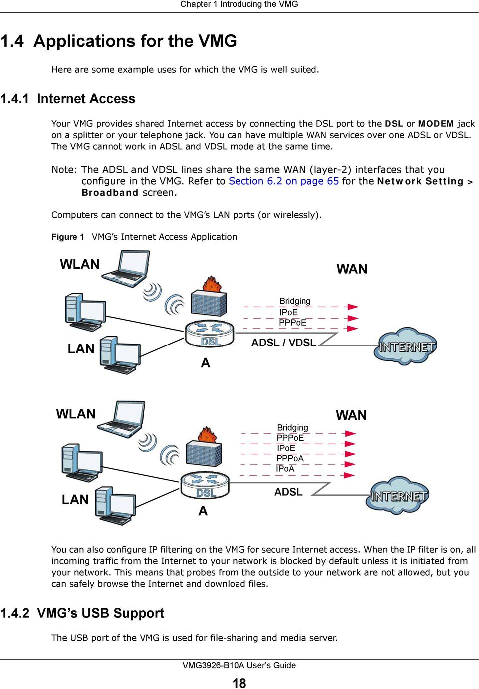 Note: The ADSL and VDSL lines share the same WAN (layer-2) interfaces that you configure in the VMG. Refer to Section 6.2 on page 65 for the Network Setting > Broadband screen.