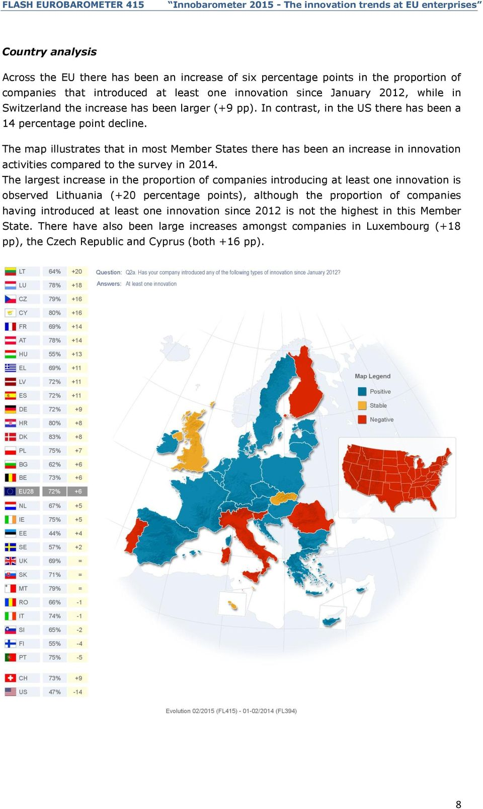 The map illustrates that in most Member States there has been an increase in innovation activities compared to the survey in 2014.