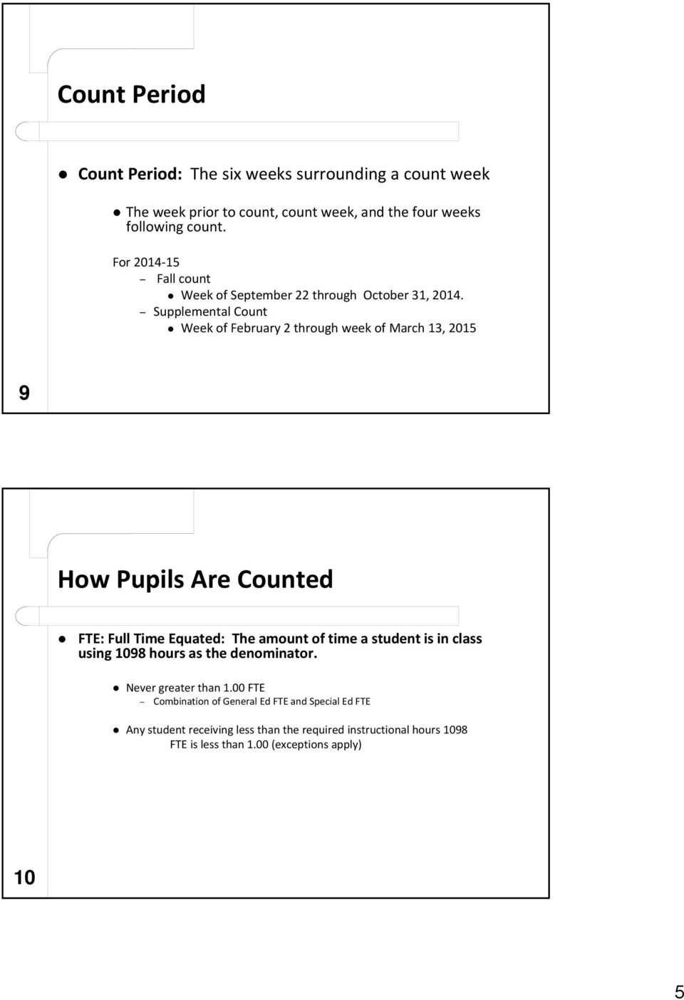 Supplemental Count Week of February 2 through week of March 13, 2015 9 How Pupils Are Counted FTE: Full Time Equated: The amount of time a student is