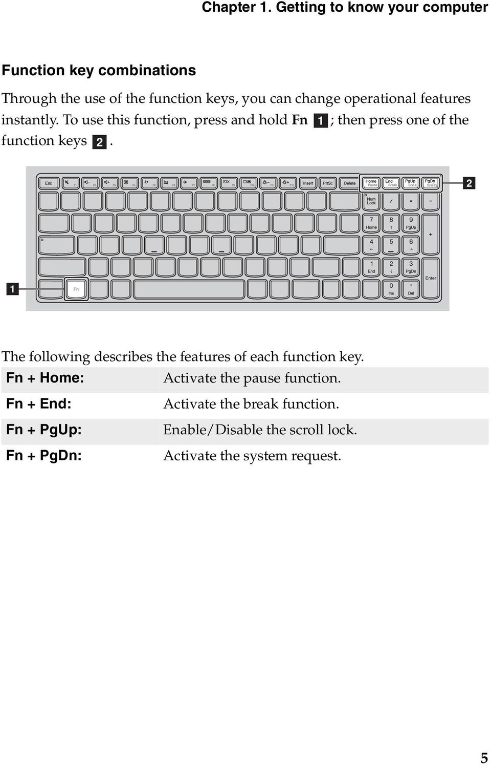 operational features instantly. To use this function, press and hold Fn a; then press one of the function keys b.