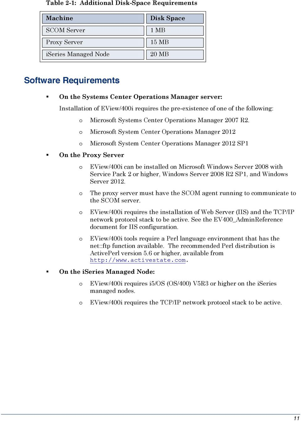 o Microsoft System Center Operations Manager 2012 o On the Proxy Server o o o o Microsoft System Center Operations Manager 2012 SP1 EView/400i can be installed on Microsoft Windows Server 2008 with