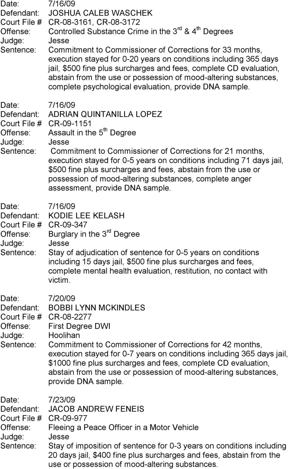 Defendant: ADRIAN QUINTANILLA LOPEZ Court File # CR-09-1151 Offense: Assault in the 5 th Degree Sentence: Commitment to Commissioner of Corrections for 21 months, execution stayed for 0-5 years on