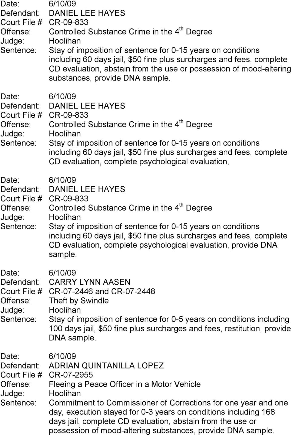 evaluation, complete psychological evaluation,  60 days jail, $50 fine plus surcharges and fees, complete CD evaluation, complete psychological evaluation, provide DNA sample.
