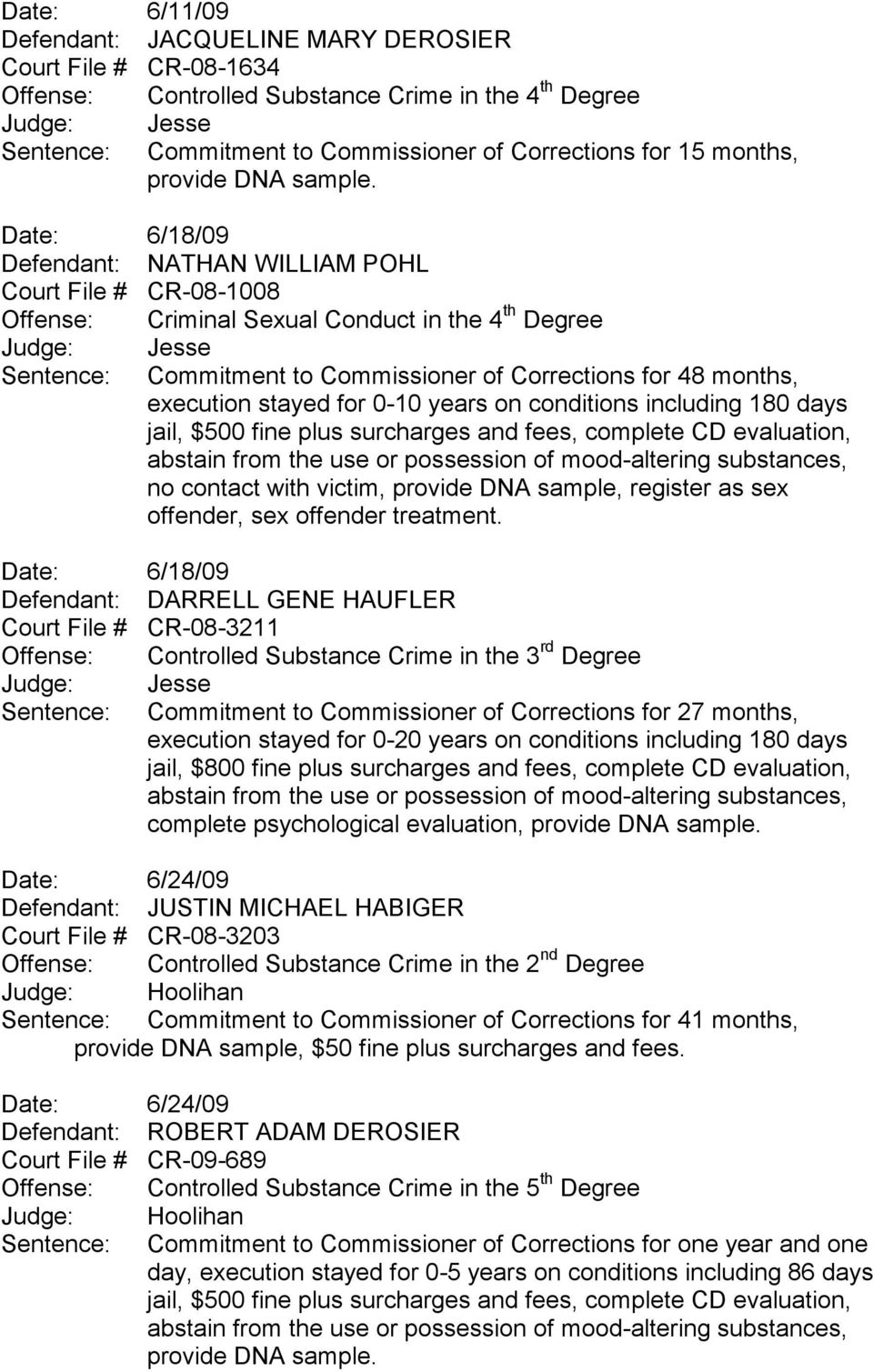 stayed for 0-10 years on conditions including 180 days jail, $500 fine plus surcharges and fees, complete CD evaluation, no contact with victim, provide DNA sample, register as sex offender, sex