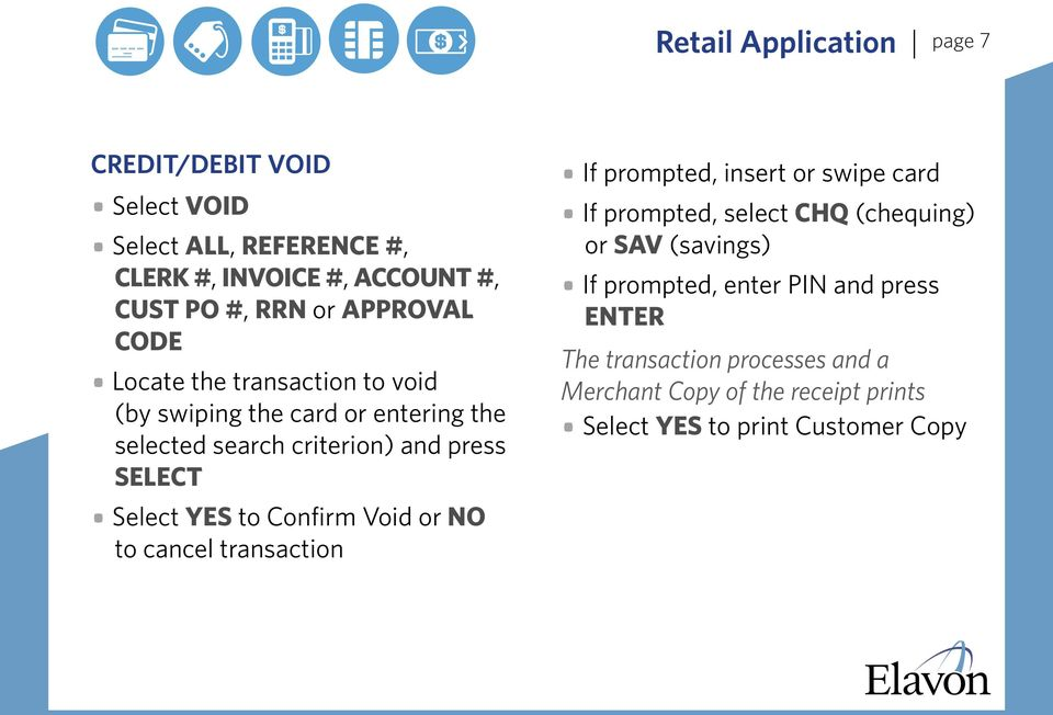 YES to Confirm Void or NO to cancel transaction If prompted, insert or swipe card If prompted, select CHQ (chequing) or SAV