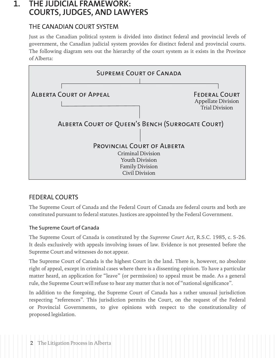 The following diagram sets out the hierarchy of the court system as it exists in the Province of Alberta: Supreme Court of Canada Alberta Court of Appeal Federal Court Appellate Division Trial
