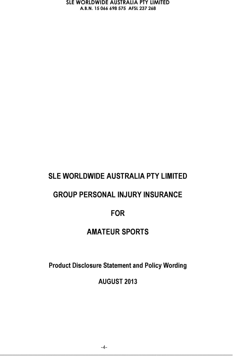 AMATEUR SPORTS Product Disclosure