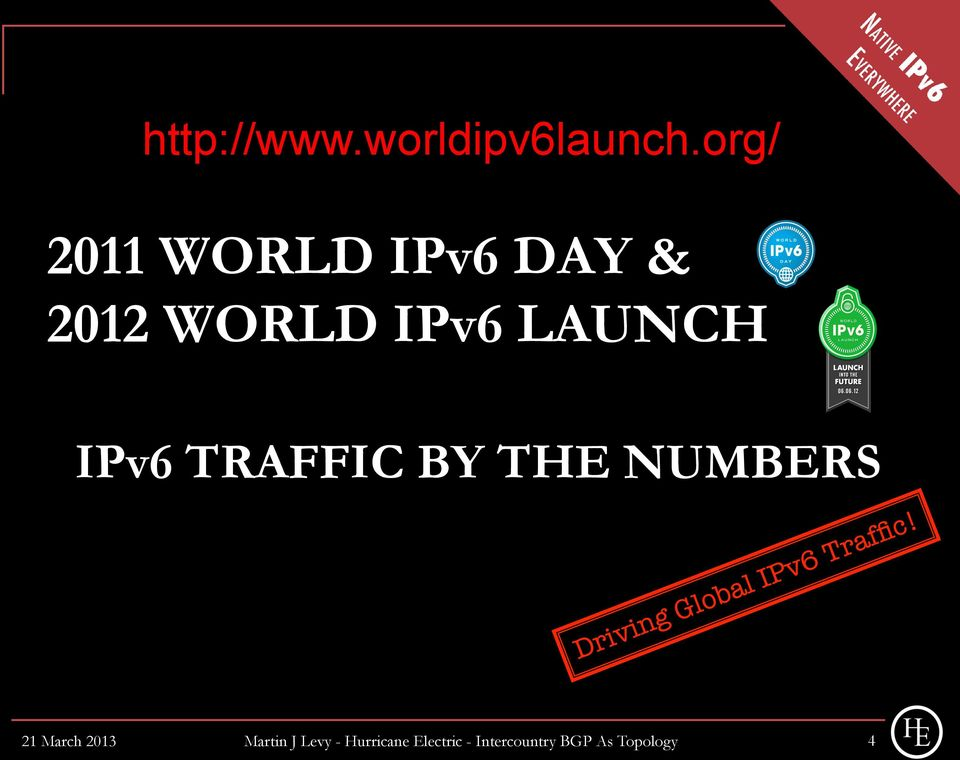 LAUNCH IPv6 TRAFFIC BY THE NUMBERS 21 March