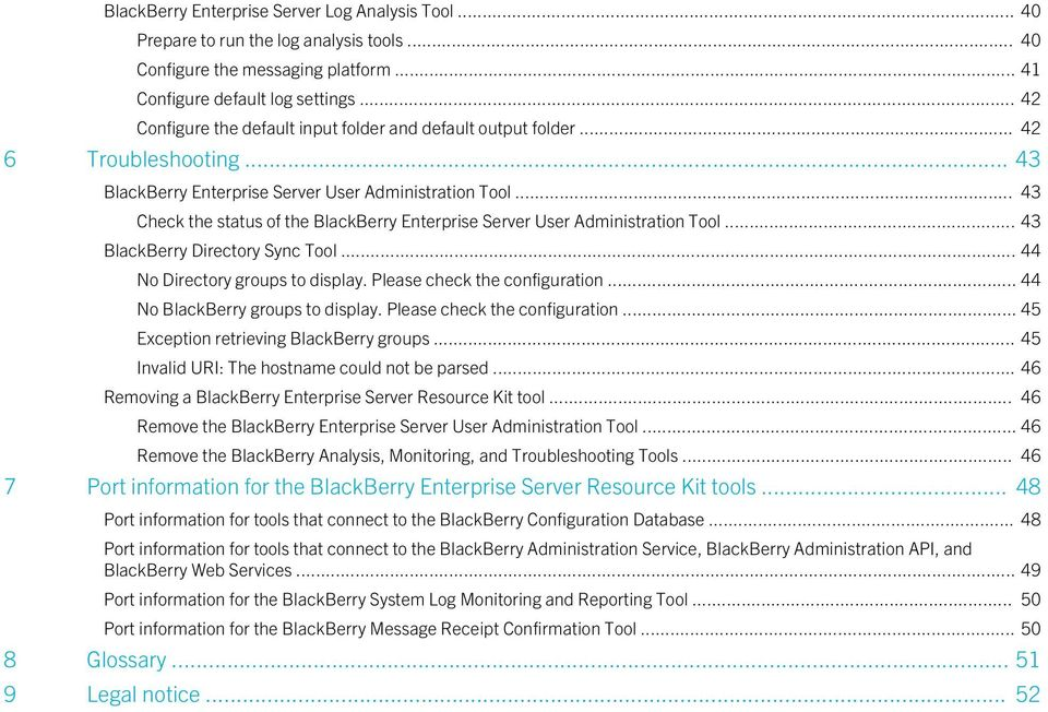 .. 43 Check the status of the BlackBerry Enterprise Server User Administration Tool... 43 BlackBerry Directory Sync Tool... 44 No Directory groups to display. Please check the configuration.