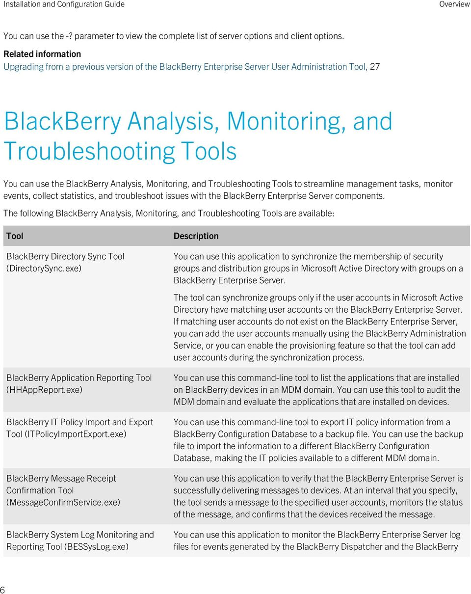 BlackBerry Analysis, Monitoring, and Troubleshooting Tools to streamline management tasks, monitor events, collect statistics, and troubleshoot issues with the BlackBerry Enterprise Server components.