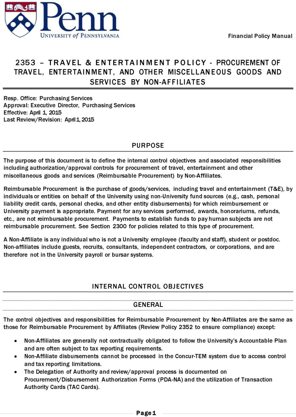 internal control objectives and associated responsibilities including authorization/approval controls for procurement of travel, entertainment and other miscellaneous goods and services (Reimbursable
