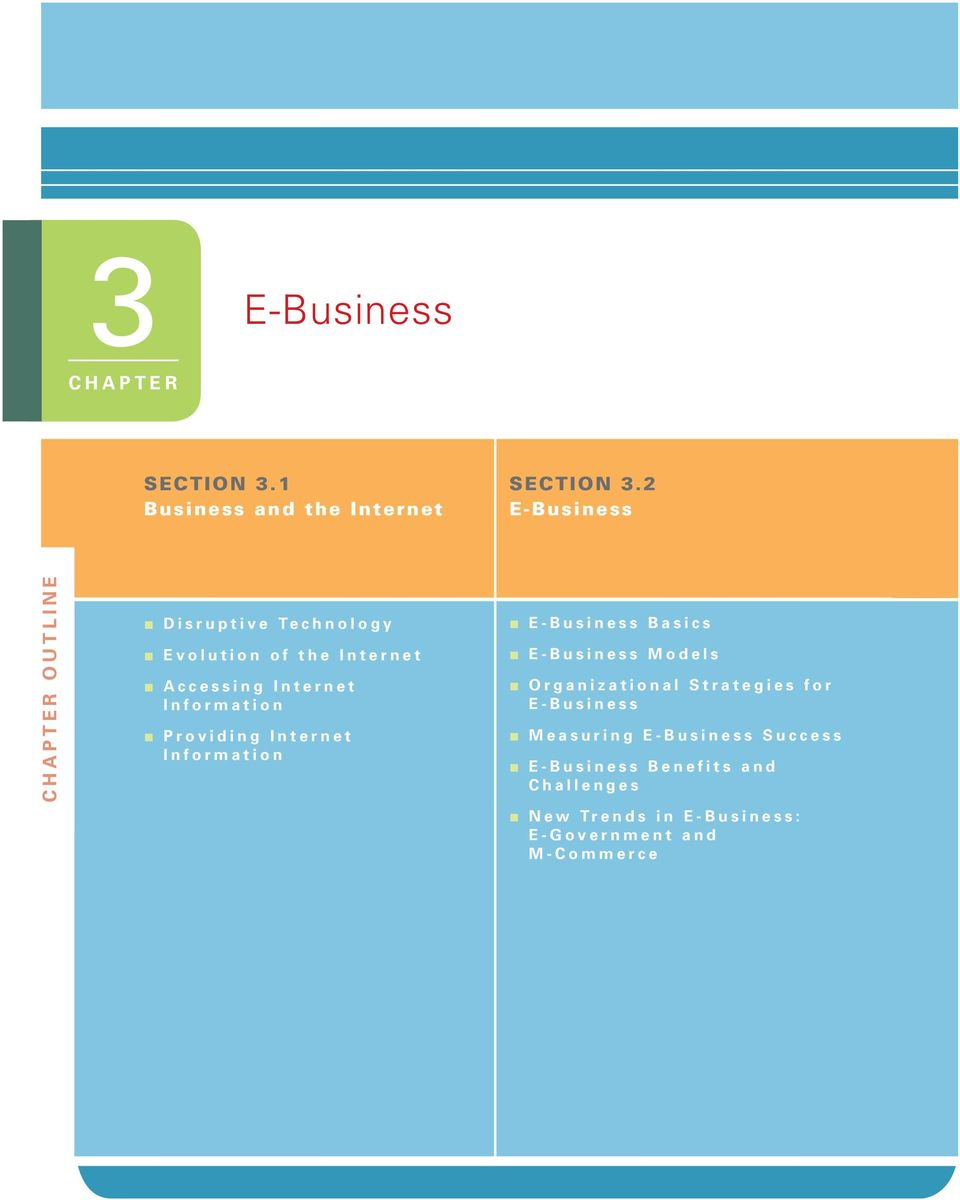 Information Providing Internet Information E-Business Basics E-Business Models Organizational
