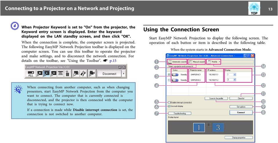 The following EasyMP Network Projection toolbar is displayed on the computer screen. You can use this toolbar to operate the projector and make settings, and to disconnect the network connection.
