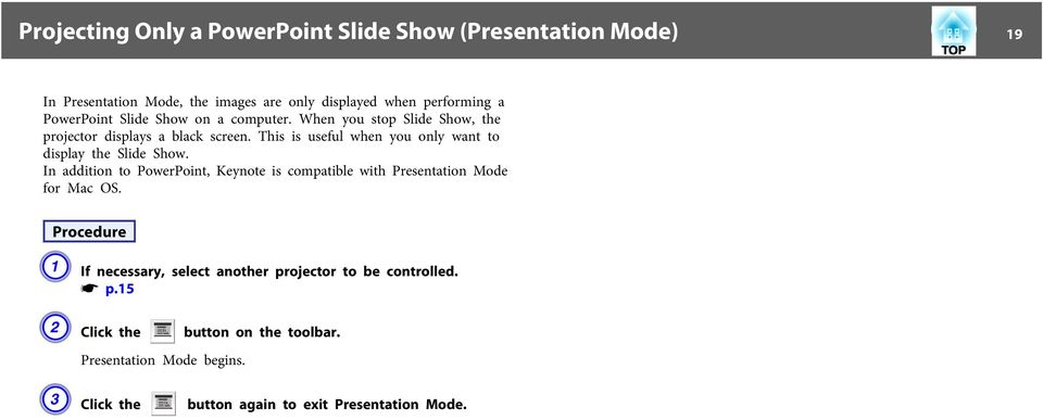 This is useful when you only want to display the Slide Show.