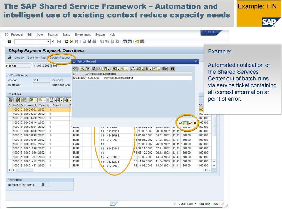 Automated notification of the Shared Services Center out of