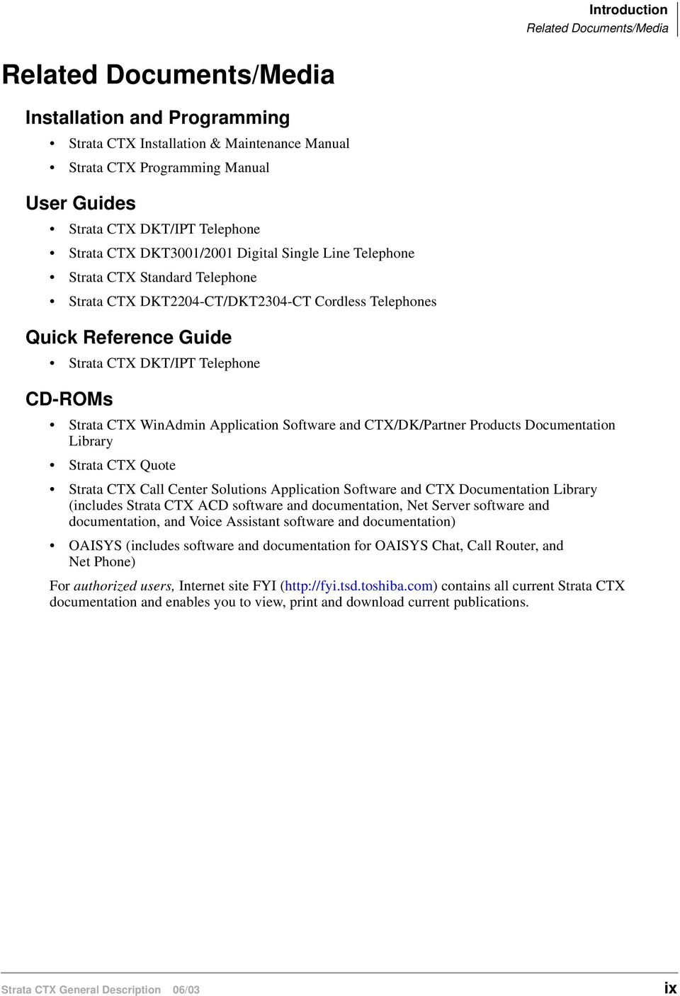 CD-ROMs Strata CTX WinAdmin Application Software and CTX/DK/Partner Products Documentation Library Strata CTX Quote Strata CTX Call Center Solutions Application Software and CTX Documentation Library