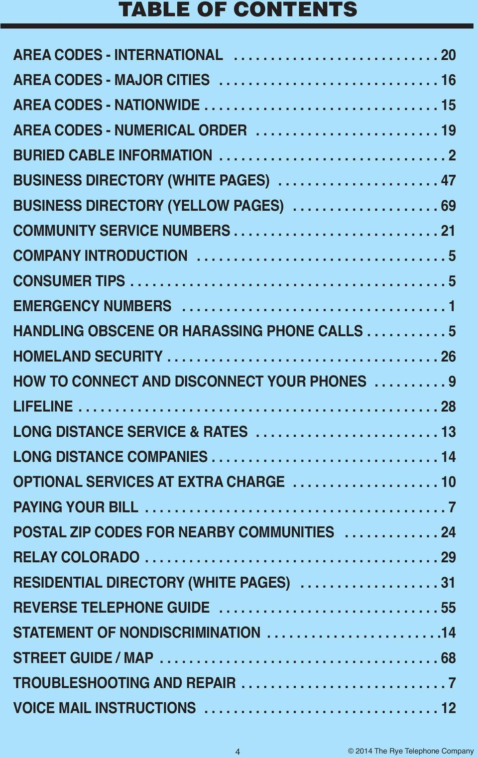 ................... 69 COMMUNITY SERVICE NUMBERS............................ 21 COMPANY INTRODUCTION.................................. 5 CONSUMER TIPS........................................... 5 EMERGENCY NUMBERS.