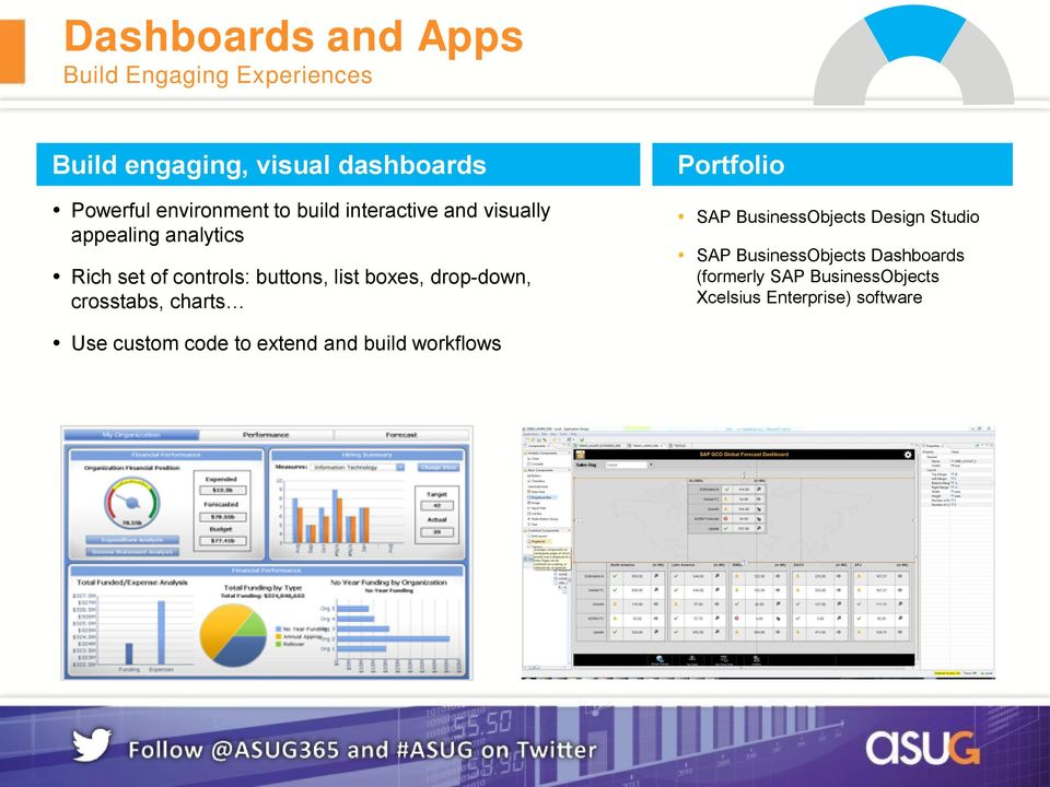 drop-down, crosstabs, charts Portfolio SAP BusinessObjects Design Studio SAP BusinessObjects