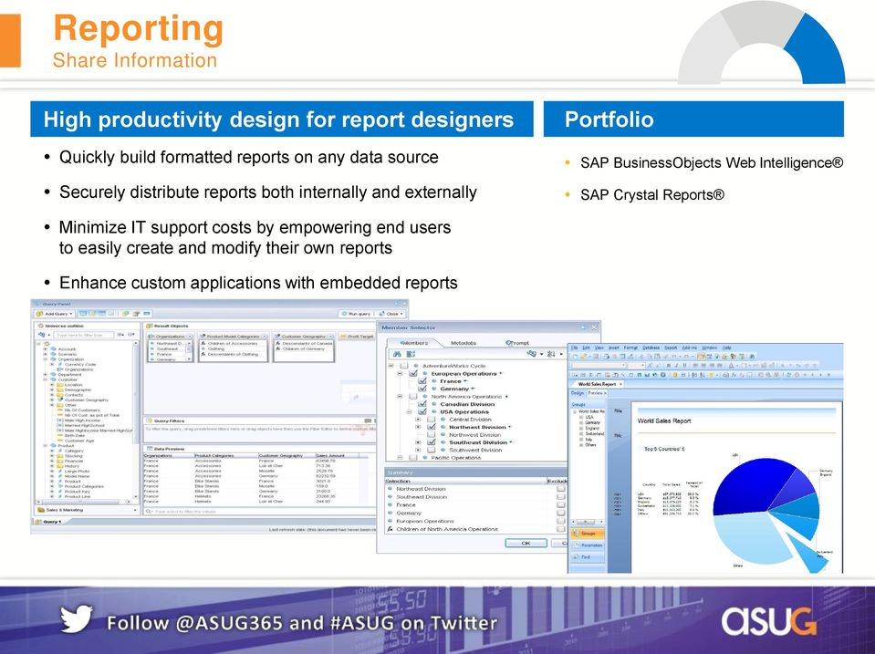 SAP BusinessObjects Web Intelligence SAP Crystal Reports Minimize IT support costs by empowering