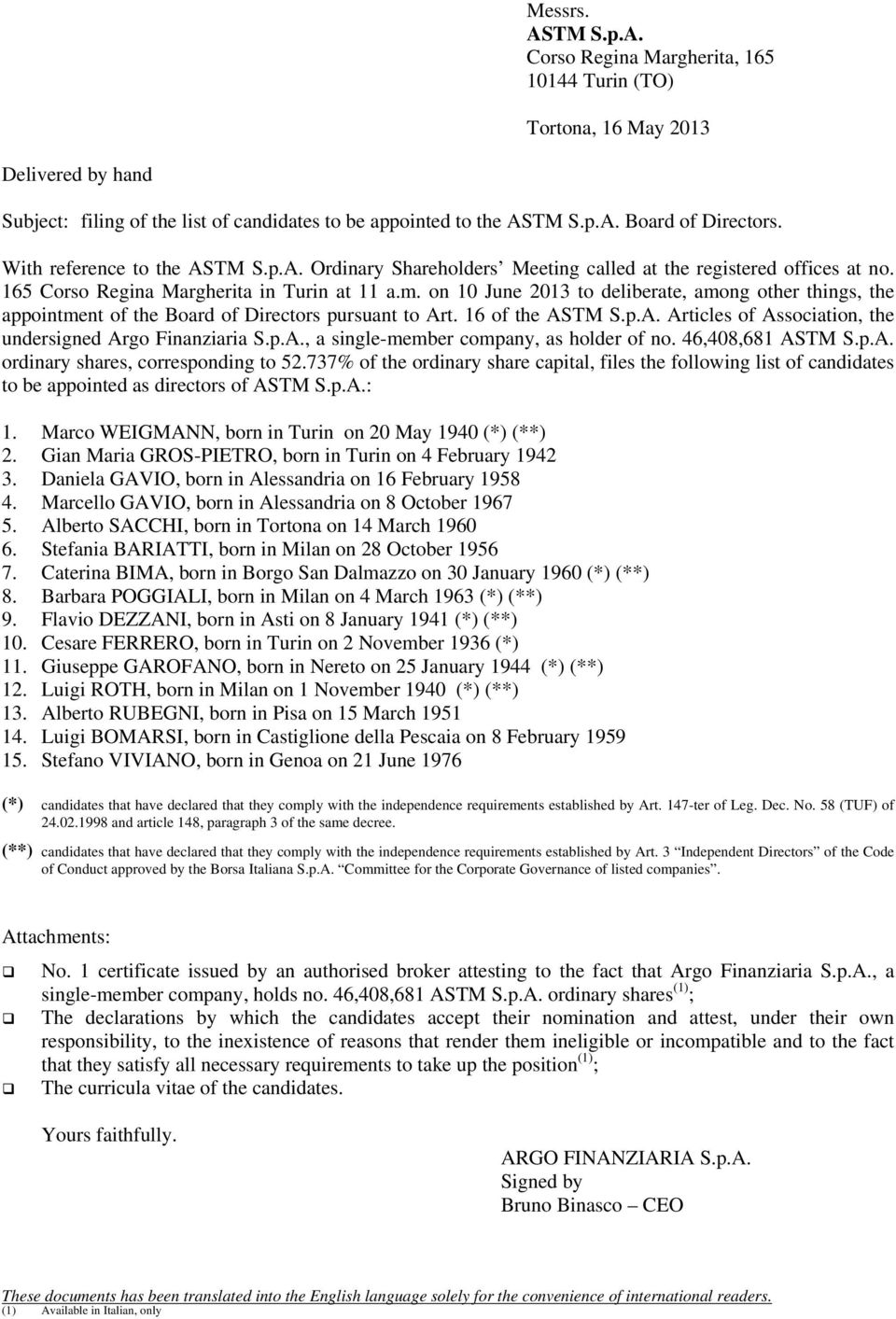 on 10 June 2013 to deliberate, among other things, the appointment of the Board of Directors pursuant to Art. 16 of the ASTM S.p.A. Articles of Association, the undersigned Argo Finanziaria S.p.A., a single-member company, as holder of no.