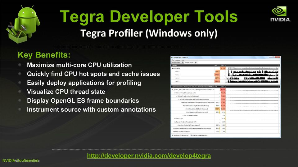 deploy applications for profiling Visualize CPU thread state Display OpenGL ES