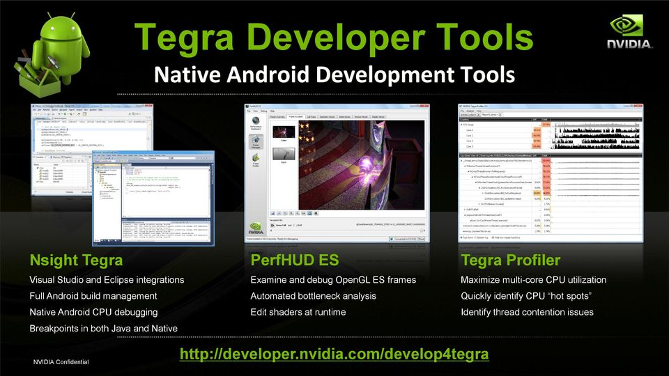 debug OpenGL ES frames Automated bottleneck analysis Edit shaders at runtime Tegra Profiler Maximize multi-core