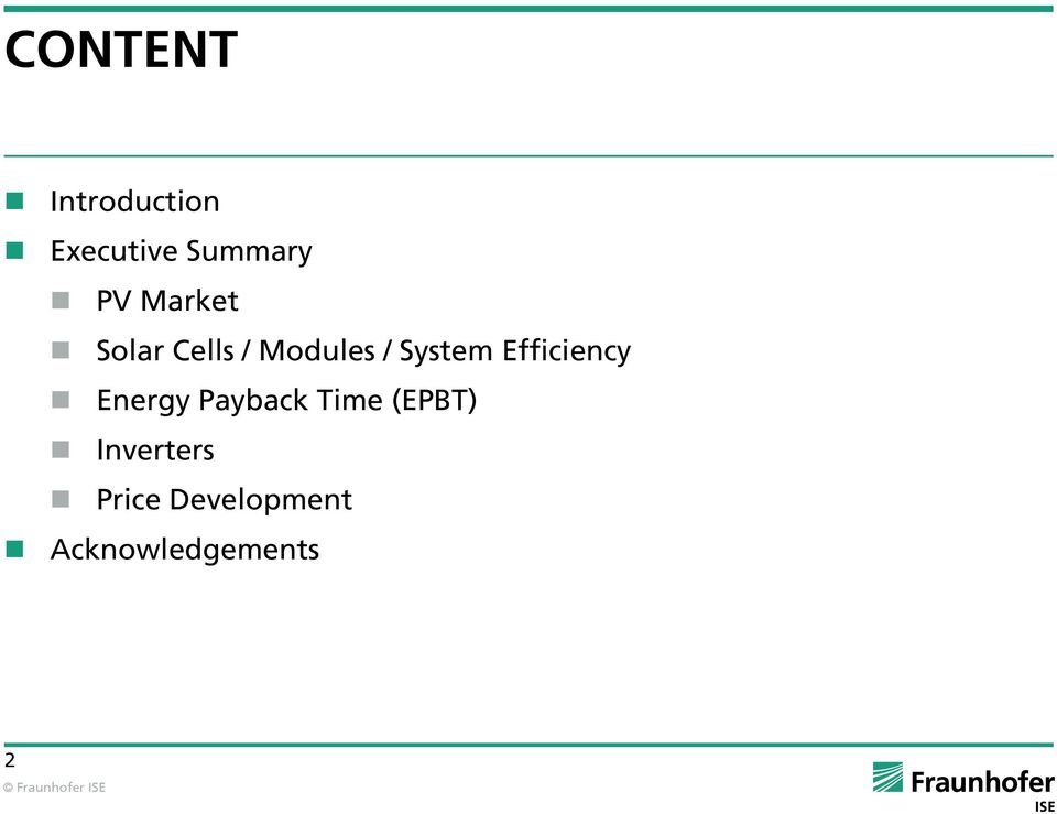 Efficiency Energy Payback Time (EPBT)
