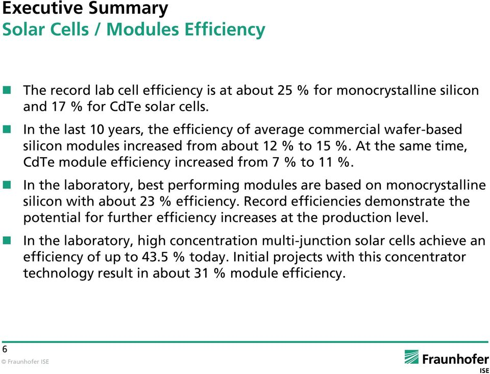 In the laboratory, best performing modules are based on monocrystalline silicon with about 23 % efficiency.