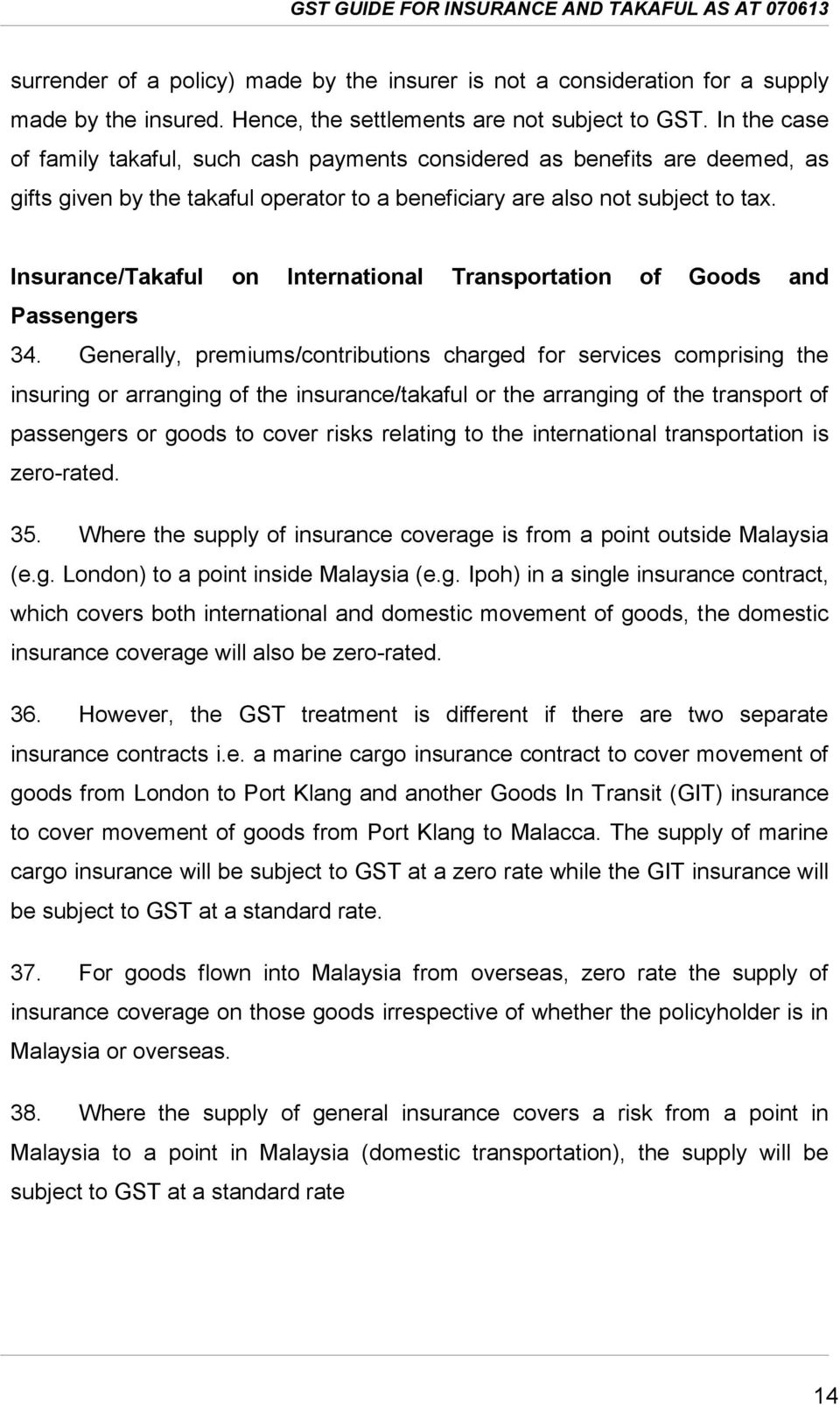 Insurance/Takaful on International Transportation of Goods and Passengers 34.