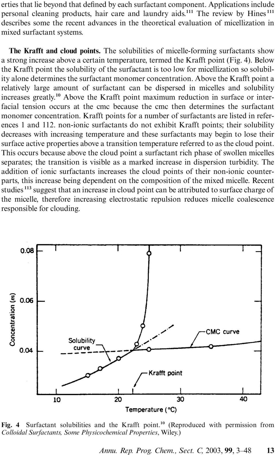 The solubilities of micelle-forming surfactants show a strong increase above a certain temperature, termed the Krafft point (Fig. 4).
