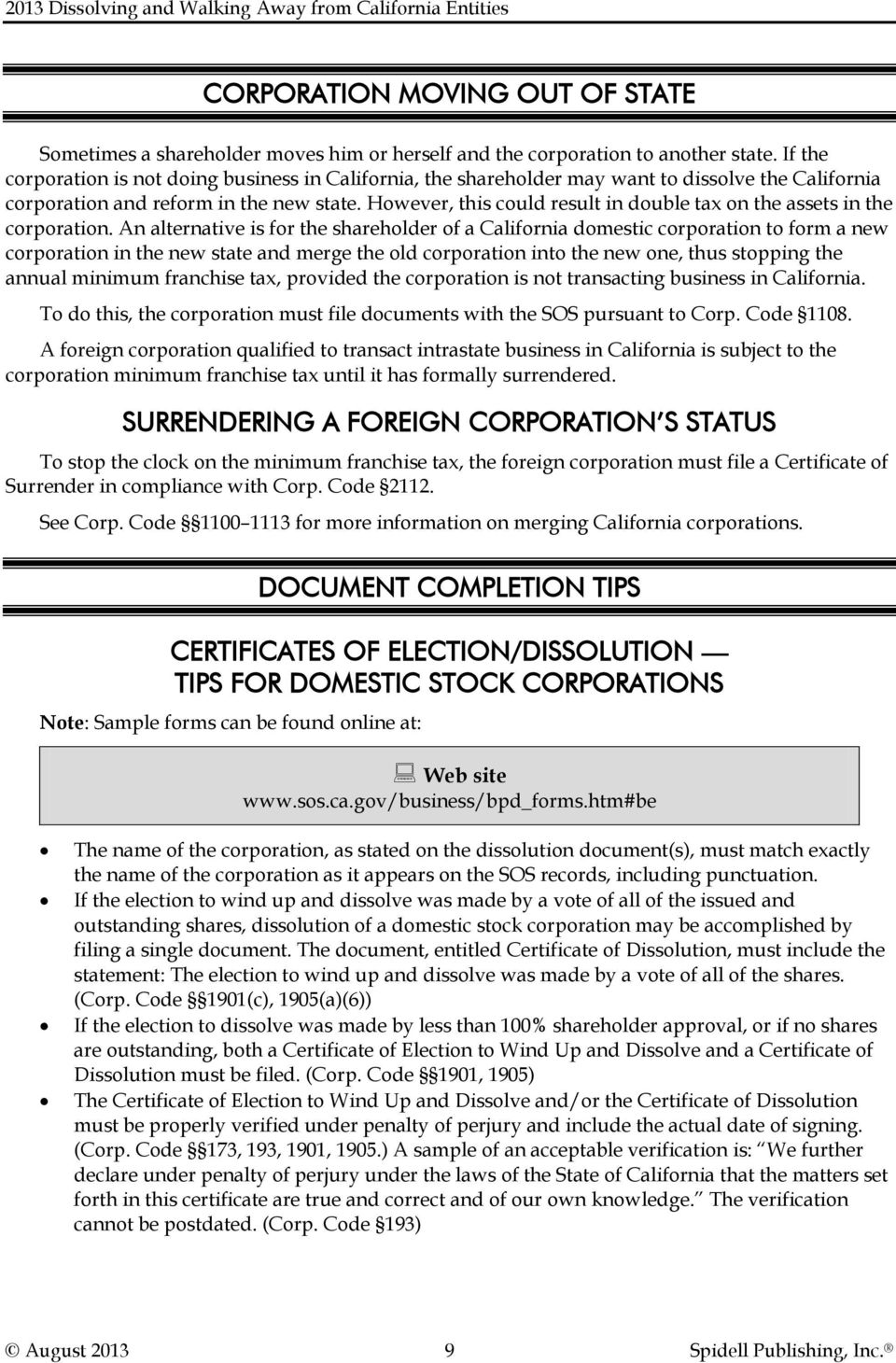 2013 dissolving and walking away from california entities pdf however this could result in double tax on the assets in the corporation xflitez Images